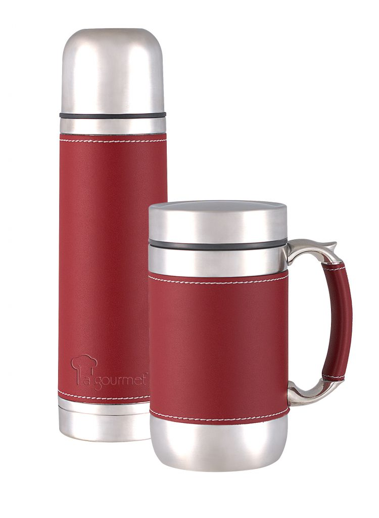 La Gourmet Leather Affair 0 5l Flask And 0 5l Mug Red